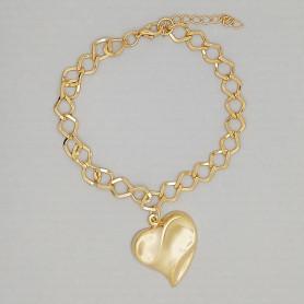Pulseira elos pingente coração folheada a ouro