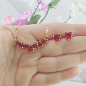 Conjunto colar e brinco de corações vermelho dourado