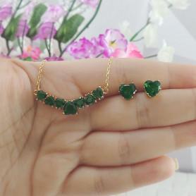 Conjunto colar e brinco de corações verde dourado
