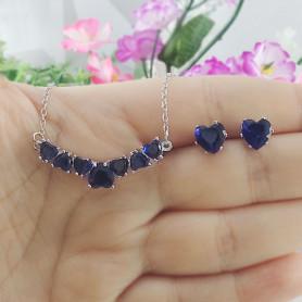 Conjunto colar e brinco de corações azul prateado