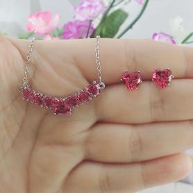 Conjunto colar e brinco de corações pink prateado