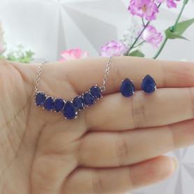 Conjunto colar e brinco de gotas azul prateado