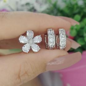 Kit piercing e argolas floral branco prateado