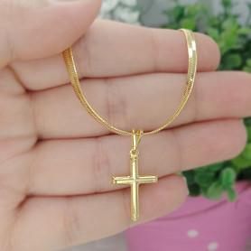 Pulseira laminada crucifixo folheada a ouro