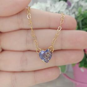 Pulseira coração lilás folheada a ouro