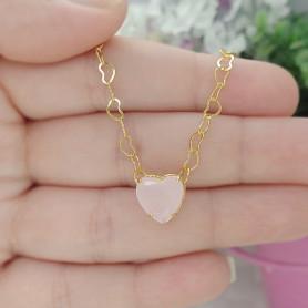 Pulseira coração rosa claro folheada a ouro