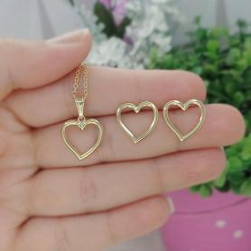 Conjunto colar e brinco folheado a ouro coração