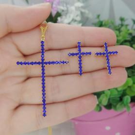 Conjunto colar e brinco folheado a ouro crucifixo azul
