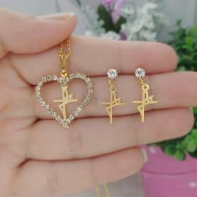Conjunto colar e brinco folheado a ouro fé coração