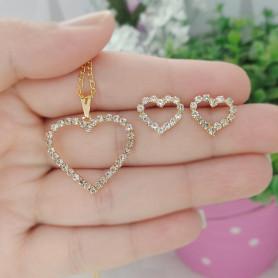 Conjunto colar e brinco folheado a ouro coração strass