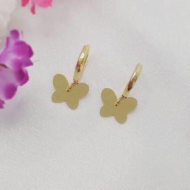 Brinco mini argola folheada a ouro borboleta