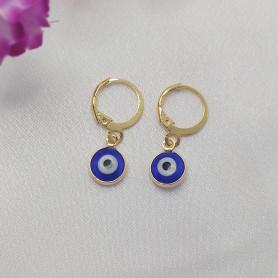 Brinco mini argola folheada a ouro olho grego