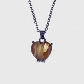 Colar pedra natural sintética coração chocolate grafite