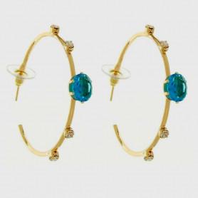 Brinco de argola oval azul dourado