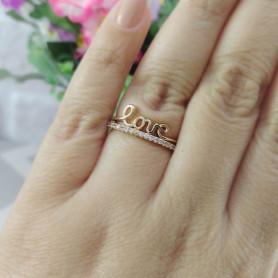 Anel love zircônia branco dourado