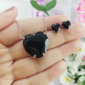 Conjunto colar e brinco coração preto prateado
