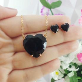 Conjunto colar e brinco coração preto