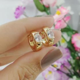 Brinco mini argola zirconia oval dourado