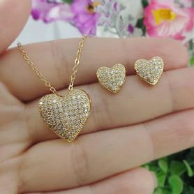 Conjunto colar e brinco coração zircônias dourado