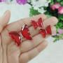 Conjunto colar e brinco borboleta vermelha dourado