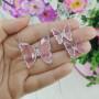 Conjunto colar e brinco borboleta rosa prateado