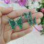 Conjunto colar e brinco borboleta verde prateado
